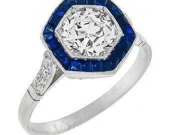 Vintage 1.15ct Diamond 0.70ct Sapphire Engagement Ring