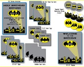 Custom DIY Batman Printable Party Package; black, yellow and blue custom invitations, cupcake toppers and thank you cards