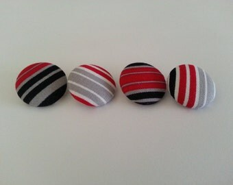 Set of 4 Fabric Covered Buttons - Stripes. 23mm Diameter