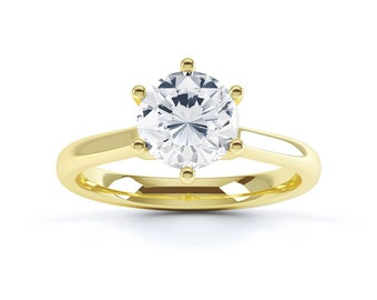 Vintage 18ct Yellow Gold Round Solitaire Diamond Engagement Ring 1ct