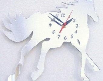 Horse Cantering Clock Mirror - 2 Sizes Available