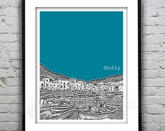 Sicily Italy Poster Art Print Skyline
