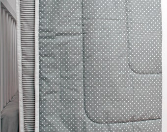 Modern Gray Baby Quilt, Baby Blanket, Crib Quilt, Gray and White polka dot and Stripes Pure Cotton, Crib Bedding, Gender Neutral