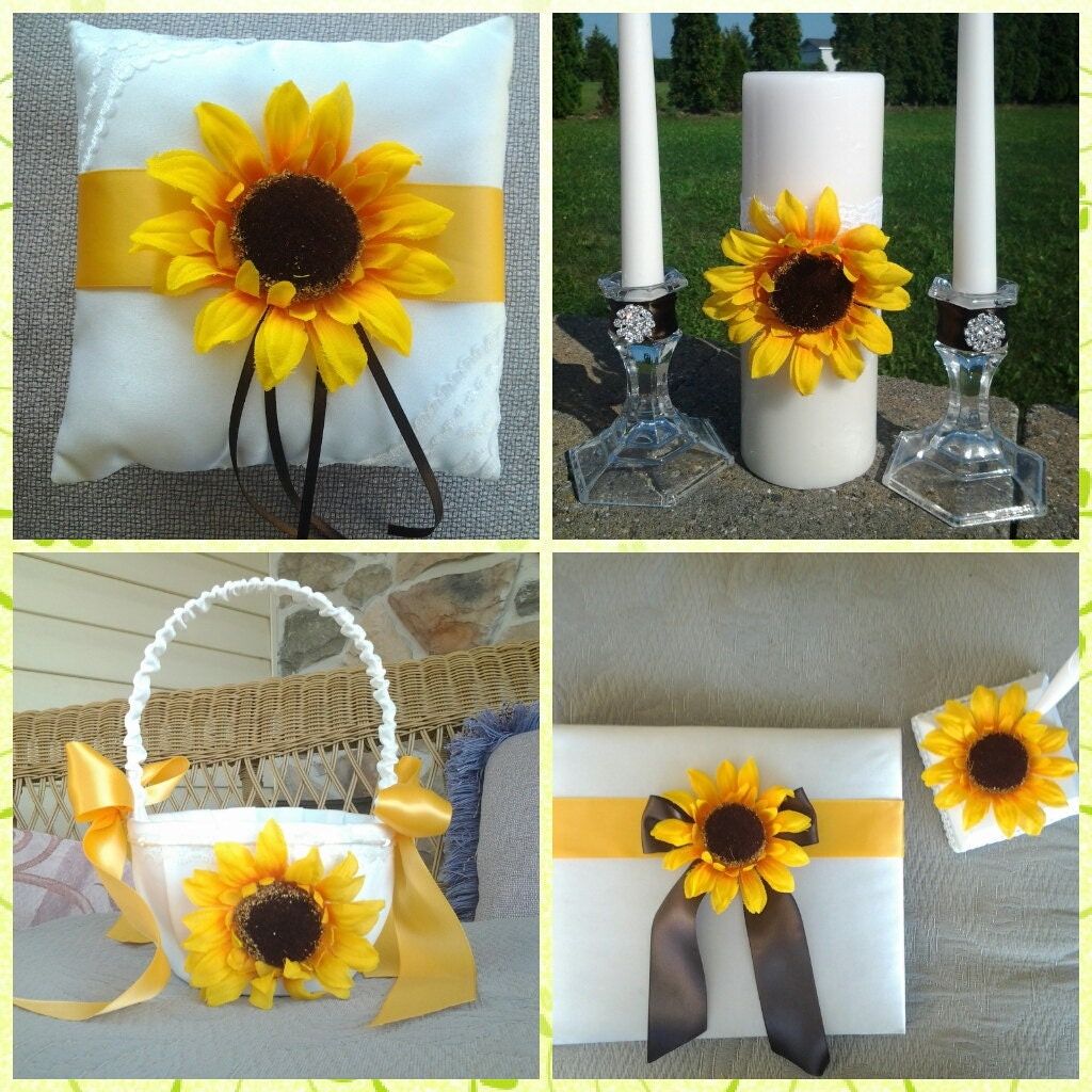 Candlelight Wedding Ceremony: Autumn Fall Sunflower Wedding Ceremony Unity Candle Guest Book