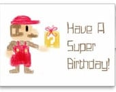 Super Mario 8 Bit Birthday Card