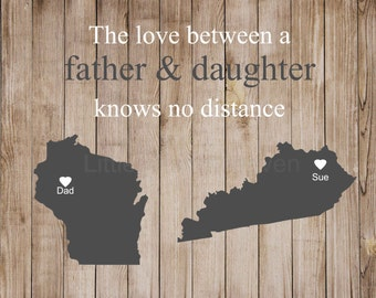 Father Daughter Map Print, father daughter map, gift for dad, gift from daughter, fathers day gift, grandfather grandpa, hearts states map