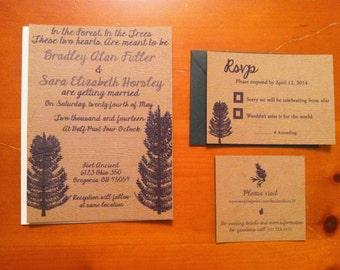 Pine Tree Wedding Invitation with envelopes for pine tree lover