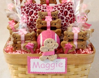 Dog biscuit gift basket with squeak toy and ball, dog treats,  personalized dog gift, dog birthday, dog get well gift