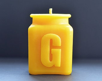 Handmade Personalized Letter G Monogram Beeswax Candle, All Letters and Numbers Available