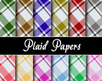 """Plaid  Digital Paper Pack - Instant Download Printable """"PLAID""""  background papers for  invitation,scrapbooking,cardmaking,craftmaking no.025"""