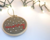 "christmas ornament // ""merry"" handmade embroidery hoop, beaded, hand stitched"