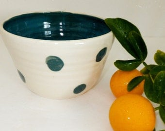 Turquoise Ceramic Bowl with Polka Dots