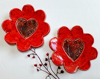 Red Heart Ceramic Ring Holder, Spoon Rest, Valentine's Day Dessert Plate