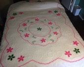 Pink and Green Flowers Chenille Bedspread