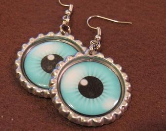 Eyeball Bottle Cap Earrings