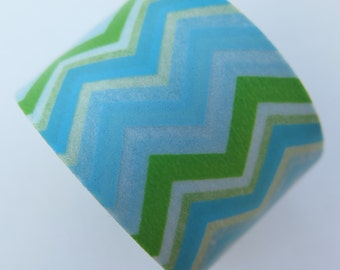 Washi Tape - Single Roll - Blue, Green and White Chevron Print - 30mm Wide
