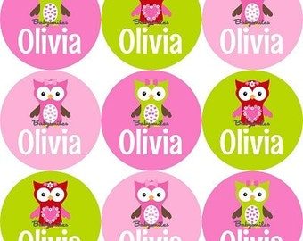 48 Personalized Waterproof Name Label Stickers - Cute Owl Girl - Perfect for School, Daycare, Camps - Affordable, Durable Labels with Style