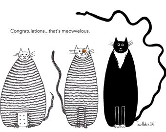 Cat card - Congratulations Meowvelous Funny Cats Three Cats Tabby Cat Black and White Cat