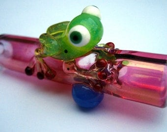 Frog Chillum - Gold Fumed - Color Changing