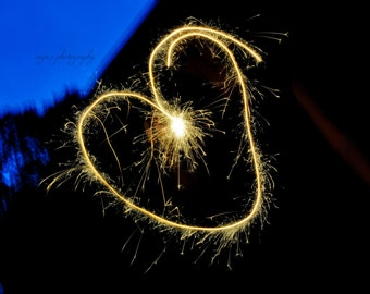 gold heart photography, sparklers, fireworks, fourth of july, nursery wall decor, home wall art, love, hearts, sparkly