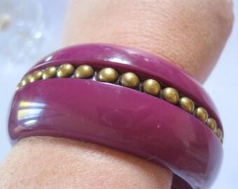 Bangle - Chunky purple plastic bangle with gold detail