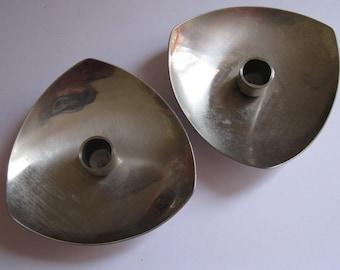 Pair of Danish steel vintage candle holders