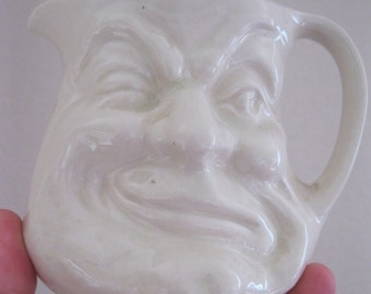 Vintage BFORE AND AFTER face pot  facepot small jug with two faces Reed Pottery made in England