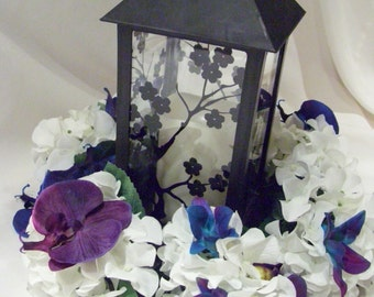 "8""  White  Hydrangea and Orchids Wreath for table centerpiece"