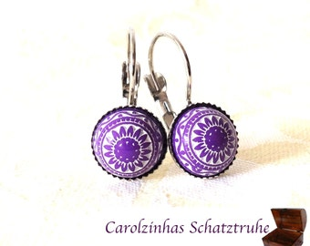 Morocco - purple and red mosaic earrings
