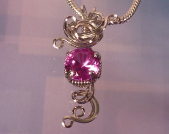 Delicate Pink Sapphire Womans Pendant Necklace Wire Wrapped Jewelry Handmade in Silver FREE SHIPPING