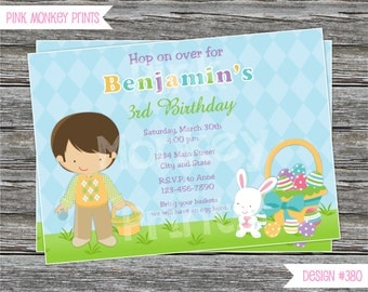 DIY - Boy Easter Egg Hunt Birthday Party Invitation #380 - Coordinating Items Available