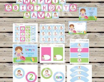 DIY - Girl Pool Party Birthday Party Pack #218 - Coordinating Items Available