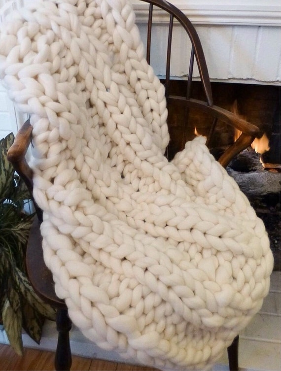 "Smoosh Blanket, 30x60""Super Chunky Blanket, Pure Merino Wool, knit blanket, chunky throw,"