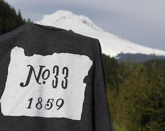 Oregon- No.33, 1859 Shirt; american apparel 50/50 unisex shirt; sizes S-2XL; heather black