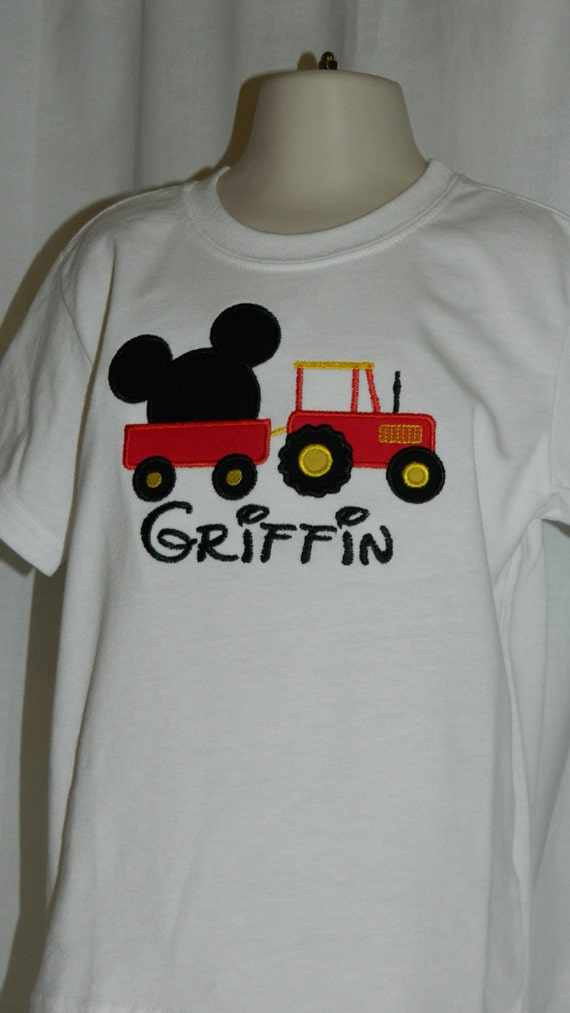 Mickey Mouse Cartoons John Deere Tractors : Items similar to mickey mouse appliqué with tractor on etsy
