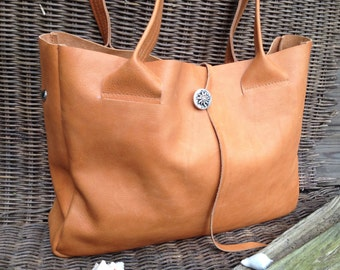 Leather Shopper Bag-Handmade Leather Shopper-Cognac