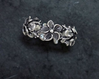 Plumeria Flower and Frog Ring - Handmade in Sterling Silver or 14k Gold