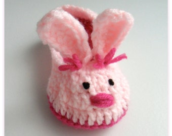 Women's Pink Bunny Slippers, Crochet Bunny Slippers, Easter Shoes, adult slippers, Handmade slippers, Crochet slippers, Spring footwear