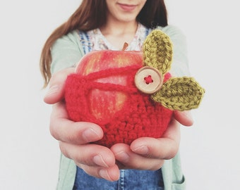 Crochet Apple Cozy Red with leaves