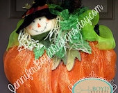 Fall Pumpkin and Scarecrow Deco Mesh Wreath Embellished with Leaves