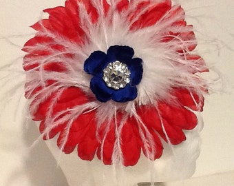 Red White and Blue Flower Feather Headband Fascinator. Handmade in USA.
