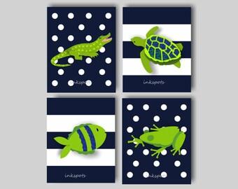 Alligator Wall Art, Alligator Nursery, Baby Boy Nursery Art, Frog, Sea Turtle, Fish, Navy and Lime Nursery Art, Choose Your Colors AL1701
