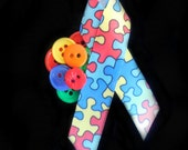 Autism Awareness Button Brooch
