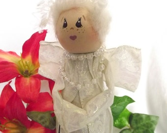 Vintage Angel Bottle Doll Hand Painted Handmade Bottle Doll Old Lady Angel Old Woman Angel Grandma Angel White Angel Curly Haired Angel