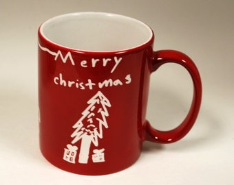 Custom engraved mugs with your children's art and hand written message. Merry Christmas