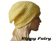 yellow beanie, spring beanie, womans slouch beanie, crochet spring hat, spring accessories, womans spring hat