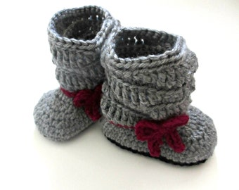 Bow Slouch Boots - baby booties - Little girl slouchy boots  - raspberry and gray crochet shoes - baby girl