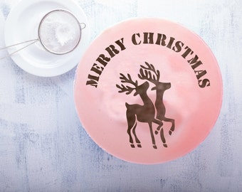 Santa's deer  Round stencil cake H012. Round stencil for cake decoration