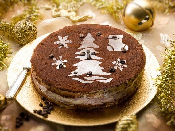 Torta di natale decorazione idee round stencil per - Decorazioni torte natalizie ...
