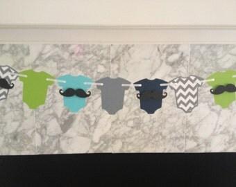 Baby Shower Decor, Little Man Baby Shower, Mustache Bash, Little Man One Piece Garland, Mustache Baby, Mustache Garland, Teal and Gray Baby